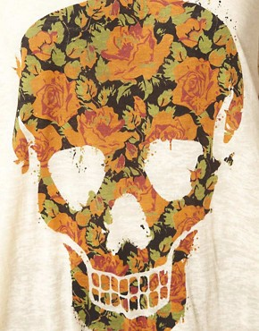 Image 3 of ASOS CURVE T-Shirt With Floral Skull