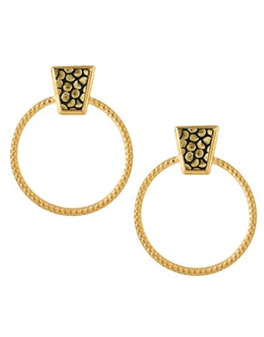 Image 1 ofGogo Philip Oversized Door Knocker Earrings With Leather Detail