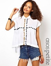 ASOS PETITE Shirt With Crochet Pom Pom Detail