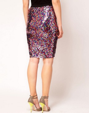 Image 2 ofASOS CURVE Multi Sequin Pencil Skirt