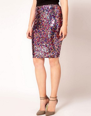 Image 4 ofASOS CURVE Multi Sequin Pencil Skirt