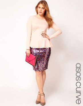 Image 1 ofASOS CURVE Multi Sequin Pencil Skirt