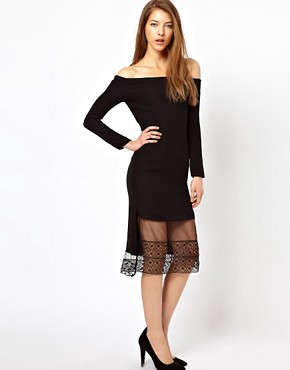 Image 4 of Kore by Sophia Kokosalaki Off Shoulder Dress With Lace Trim