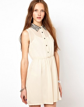 Image 1 ofGoldie Shirt Dress With Studded Collar