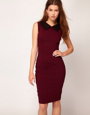Image 1 ofHybrid Lace Collar Pencil Dress