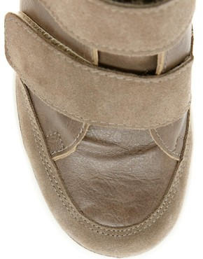 Image 3 of ASOS DOUBLE TROUBLE Wedge Trainers with Velcro and Suede Detail