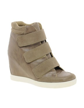 Image 1 of ASOS DOUBLE TROUBLE Wedge Trainers with Velcro and Suede Detail