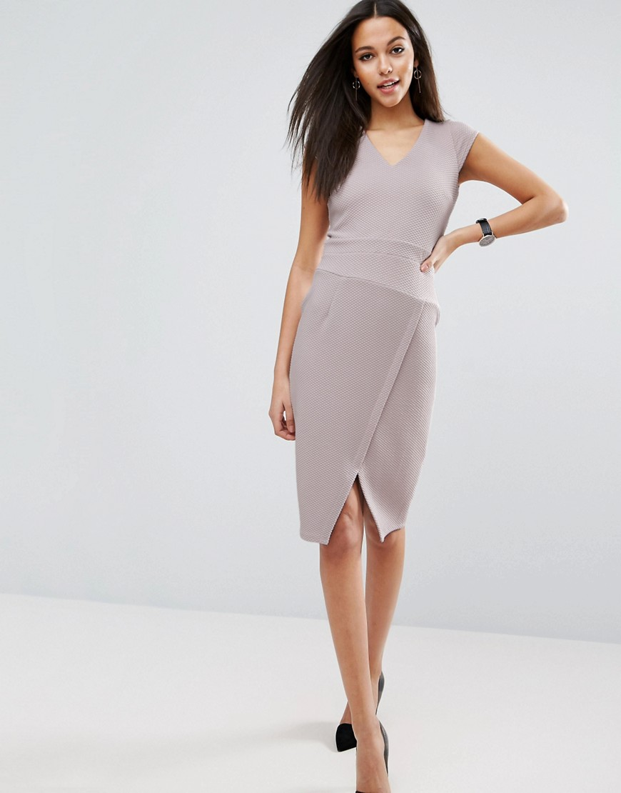 ASOS V Neck Origami Detail Textured Dress