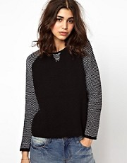 BA&SH Knitted Sweater with Contrast Sleeve