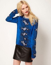 Equipment Sloan Cashmere Crew in Python Print