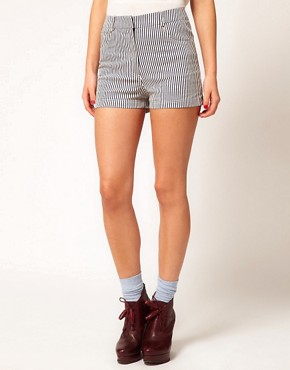 Image 4 ofMarkus Lupfer Narrow Stripe Fitted Shorts