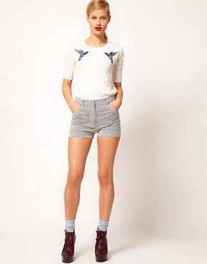 Image 1 ofMarkus Lupfer Narrow Stripe Fitted Shorts