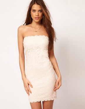 Image 1 ofASOS Bandeau Dress in Lace