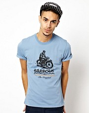 Barbour T-Shirt with Motorcycle Graphic
