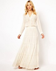 Mango 70S Embroidered Maxi Dress