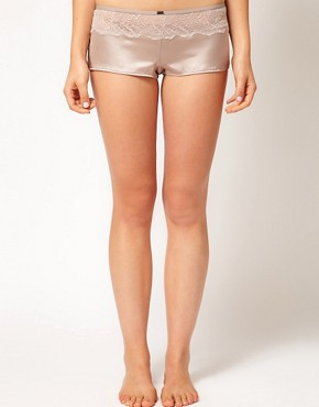 Image 1 ofCalvin Klein Black Satin &amp; Lace Sleep Short