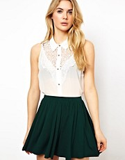 Vila Lace Yoke Sleeveless Blouse