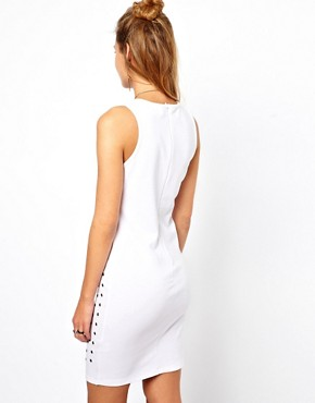 Image 2 ofGlamorous Rivet Mini Dress with Cut Away Shoulder