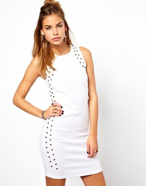 Image 1 ofGlamorous Rivet Mini Dress with Cut Away Shoulder