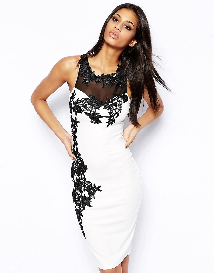 Image 1 of Lipsy Bodycon Dress With Lace Trim