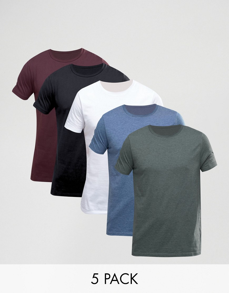 ASOS T-Shirt With Crew Neck 5 Pack - Multi