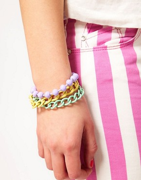 Image 2 of ASOS Pastel Coated Mixed Chain Bracelet