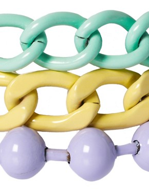Image 3 of ASOS Pastel Coated Mixed Chain Bracelet