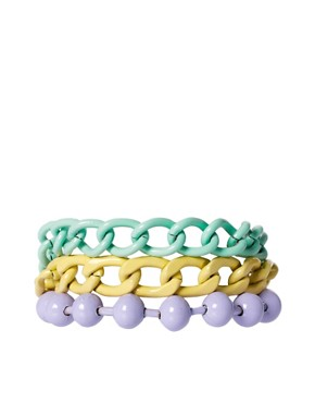 Image 1 of ASOS Pastel Coated Mixed Chain Bracelet