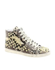 Steve Madden Twynkle Snake Print High Top Trainers