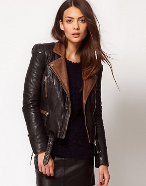 Image 1 ofWhistles Naomi Leather Jacket with Contrast Collar