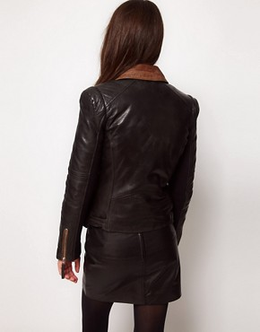 Image 2 ofWhistles Naomi Leather Jacket with Contrast Collar