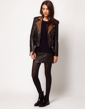 Image 4 ofWhistles Naomi Leather Jacket with Contrast Collar