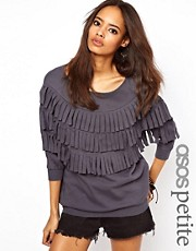 ASOS PETITE Sweatshirt With Fringe Cut