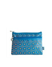 Tender Love &amp; Carry Cut Out Make-Up Bag - Turquoise &amp; Orange