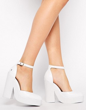Windsor Smith Pow White Leather Ankle Strap Heeled Shoes