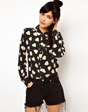 Image 1 ofEquipment Brett Silk Shirt in Bold Heart Print