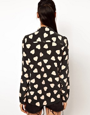 Image 2 ofEquipment Brett Silk Shirt in Bold Heart Print