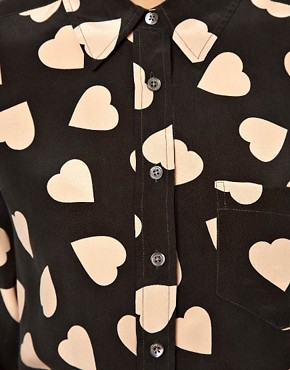 Image 3 ofEquipment Brett Silk Shirt in Bold Heart Print