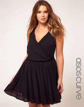 Image 1 ofASOS CURVE Wrap Dress With Embroidery