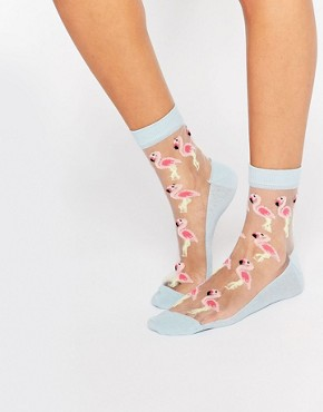 ASOS Sheer Flamingo Ankle Socks