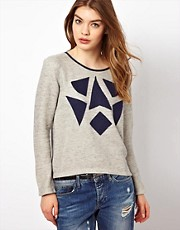 By Zoe Sweat Top with Contrast Diamond Shapes