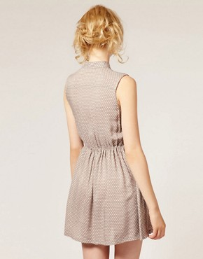 Image 2 ofDahlia Button Front Spotty Sleeveless Dress