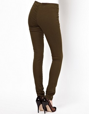 Image 2 ofASOS Matelot Denim Jeggings in Khaki