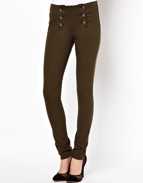Image 1 ofASOS Matelot Denim Jeggings in Khaki
