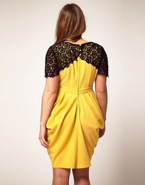Image 2 ofASOS CURVE Exclusive Drape Dress With Flower Crochet Trim