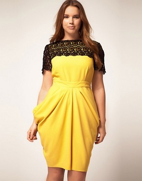 Image 4 ofASOS CURVE Exclusive Drape Dress With Flower Crochet Trim