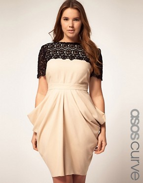 Image 1 ofASOS CURVE Exclusive Drape Dress With Flower Crochet Trim