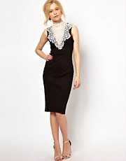 Lydia Bright Pencil Dress with Vintage Lace Collar Detail