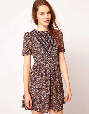 Image 1 ofDahlia Forties Floral Skater Dress