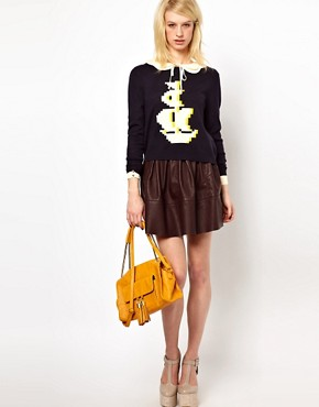Image 4 ofOrla Kiely Button Back Sweater in Pixelated Galleon Design